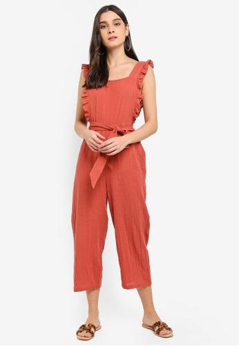 4edc99d6e6e Buy TOPSHOP Rust Frill Jumpsuit Online on ZALORA Singapore
