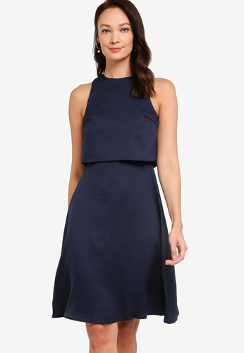 ZALORA OCCASION navy Double Layer Fit & Flare Dress C6037AA79A4EC4GS_1