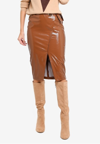 River Island brown Ad Campaign Patent Tie Wrap Skirt EF2EDAAC646115GS_1