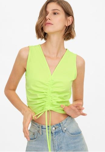 Pomelo green Sleeveless Knit Drawstring Crop Top - Green 92401AAD6EC74DGS_1