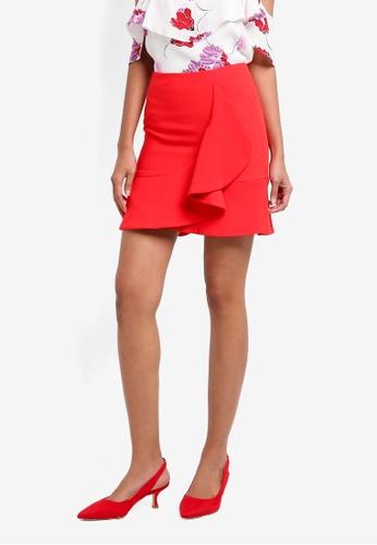 Bardot red Sienna Frill Skirt CACB0AA60F0C78GS_1