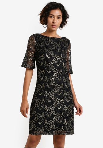 Dorothy Perkins black Gold Shimmer Lace Shift Dress DO816AA0RCHCMY_1