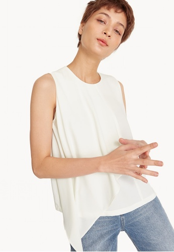 Pomelo white Asymmetric Drape Sleeveless Top 78B2FAA688B96CGS_1