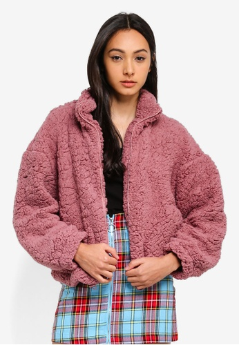 Factorie pink Teddy Bomber Jacket BDFE5AA9B7E3AEGS_1