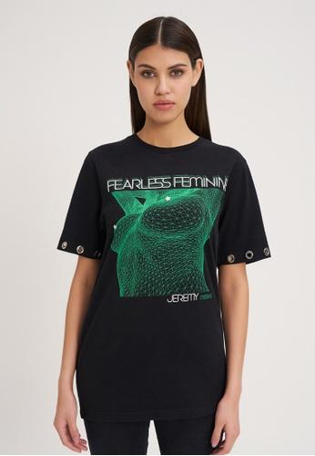 Jeremy Meeks black Women Oversize T-Shirt With Eyelet Detail Black 0EB1CAA0892982GS_1