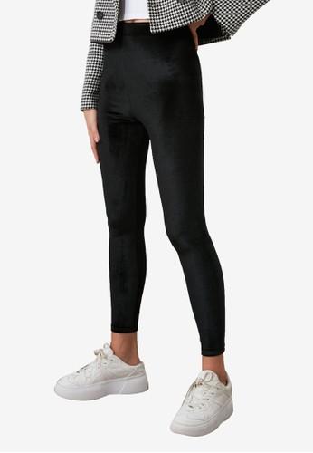 Trendyol black Velvet Leggings BDA0EAAD51C972GS_1