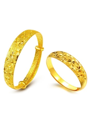 YOUNIQ gold YOUNIQ Premium Classical 24K Plated Bangle Bangle & Ring Set (Gold) YO999AC30NQBMY_1