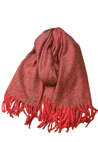 Chronomart red Evelyn & Alison Space Dye Two-Tone Red Comfy Scarf CH783AC05FUCPH_1