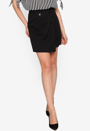 ZALORA WORK black Button Detail Wrap Skirt 51F74AA0A5BC74GS_1