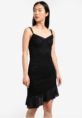 MISSGUIDED black Mesh Polka Dot Flare Hem Strappy Dress MI511AA0RXXJMY_1