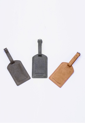 ENZODESIGN black and brown Deluxe Top Grain Leather 3 pcs Luggage Tag Set  EN880AC11GUUHK_1