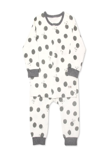 Organic mom brown and beige Boys Little Dot Puppy Pajamas AEAFEKAD7B2A37GS_1