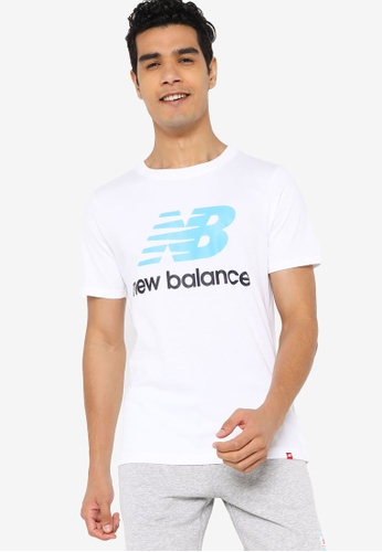 New Balance white Essentials Stacked Logo Tee BD97CAA1E942A0GS_1