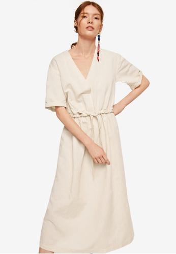 MANGO brown Belt Linen Dress 60522AA12DD81FGS_1