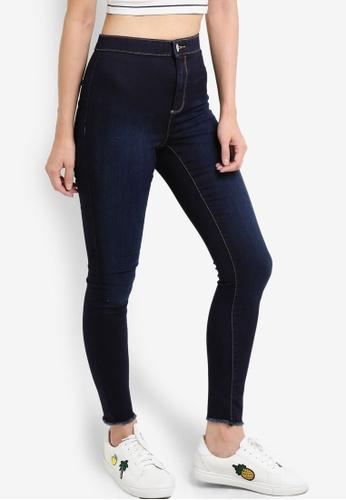 Miss Selfridge blue Steffi Indigo Fray Hem Jeans MI665AA16PBVMY_1