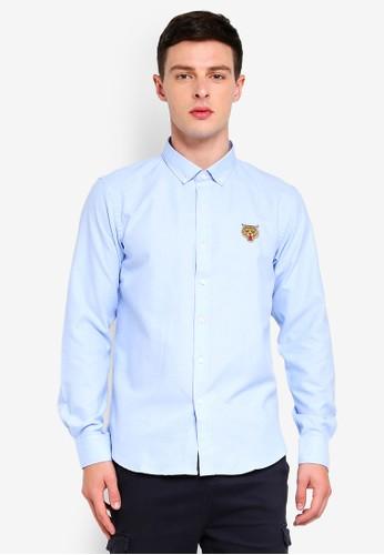 Brave Soul blue Tiger Embroidered Long Sleeve Shirt 8364EAAF816DD5GS_1