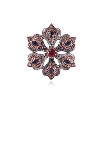 Glamorousky white Elegant and Fashion Plated Gold Geometric Flower Brooch with Cubic Zirconia 33E10AC1A46976GS_1
