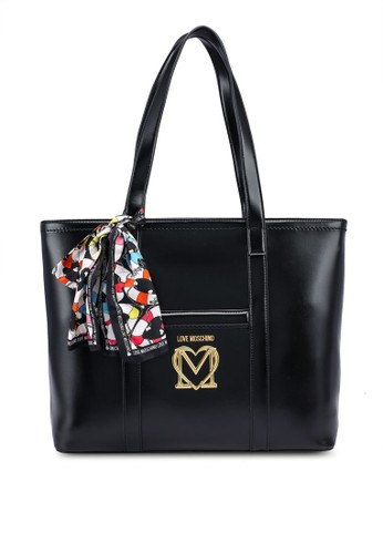 Love Moschino black Twill Scarf Love Logo Tote Bag 0C8C6ACD0EDE08GS_1