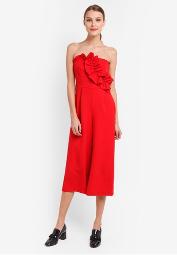 TOPSHOP red Bandeau Jumpsuit 070EFAAD5FD10AGS_1