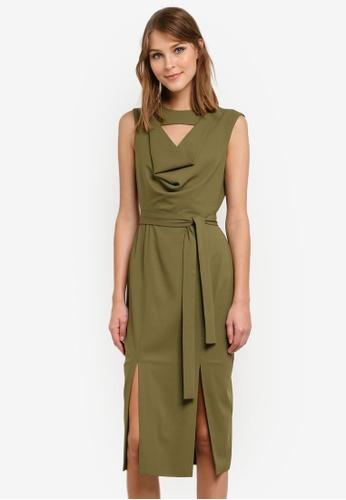 Lavish Alice green Sleeveless Cowlneck Midi Dress LA457AA0SANDMY_1