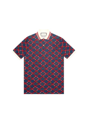 Gucci red Gucci Oversize printed Polo Tee in Red,Blue 330D7AA8B0924DGS_1