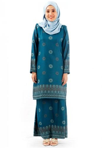 KAMDAR blue Daliya Zahra Kurung Modern-Teal Blue F3724AAC6D77DCGS_1