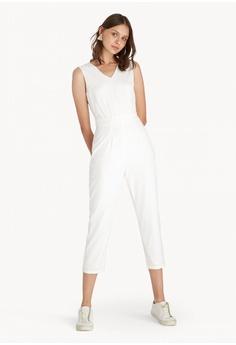 79dc28b0c41 Pomelo white Midi Open V Back Jumpsuit - White 62A30AADCC9FD2GS 1