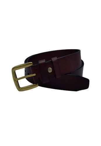 EXTREME brown Leather Belt With Bronze Buckle (40mm) 33A05ACAEA2B95GS_1