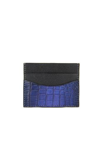 Barnns blue Barnns Terra Crocodile Leather Card Holder in Blue 09436AC55808BDGS_1