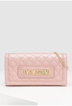 ece7a2ad1d21 Love Moschino pink Quilted Front Flap Wallet CEF88AC0F786AEGS_1