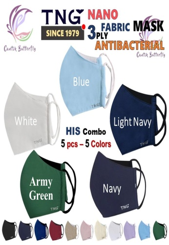 Cantik Butterfly multi TNG 3 Ply Antibacterial Nano Fabric Mask Reusable (His Combo: 1pcs Black + 1pcs Navy + 1pcs Blue + 1pcs Light Navy+ 1pcs Brown) 7D4C7ES5319358GS_1