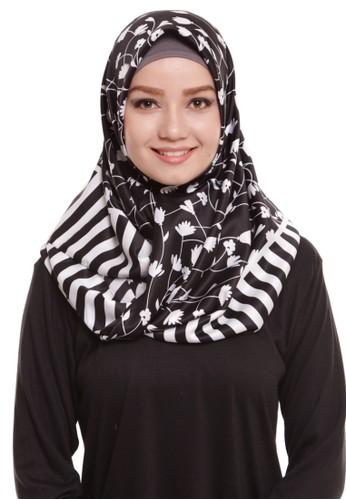Mybamus Blossom Square Hijab Satin Black