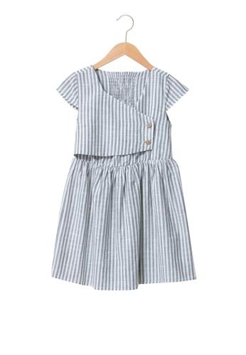 LC Waikiki green Striped Short Sleeve Poplin Girl Dress 79762KAB92657CGS_1