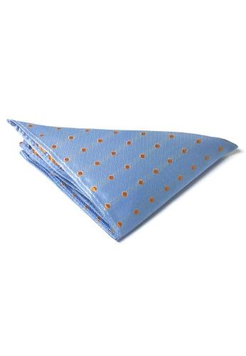 Splice Cufflinks blue Dollop Series Orange Spots Sky Blue Polyester Pocket Square  SP744AC16DJNSG_1