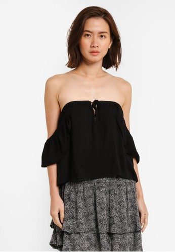 Factorie black Marakesh Tie Front Short Sleeve Off Shoulder FA113AA0UJCOID_1