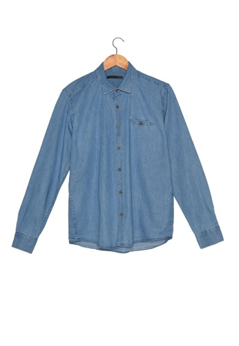 Trendyol blue Slim Fit Pocket Denim Shirt DE14EAA4E8B022GS_1
