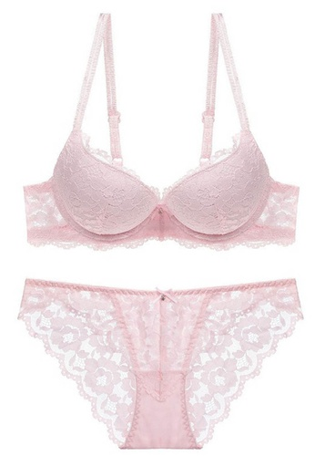 Sunnydaysweety pink Lace Underwire Bra with Panty Set CA123114PI 7262EUS41648DDGS_1