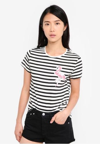 ZALORA black Striped Tee With Flamingo Embroidery Detail 1D221AA43EDD4EGS_1