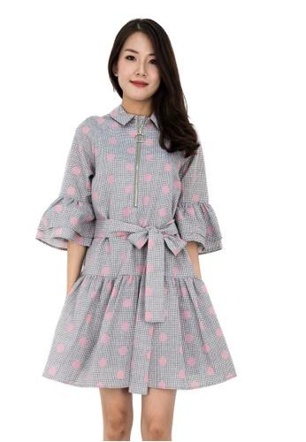 MOONRIVER brown Sally Sleeves Low Waist Dress 739AFAA242DB1EGS_1