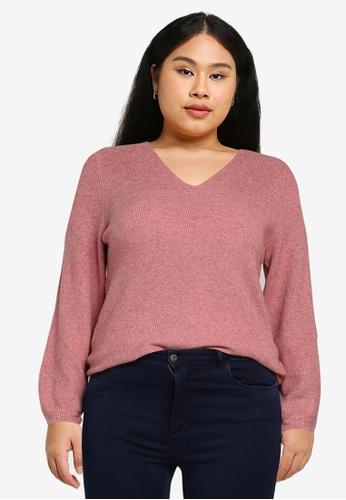 Only CARMAKOMA orange Plus Size Atija V-neck Long Sleeves Knit Sweater E0BE8AADE7DFBDGS_1