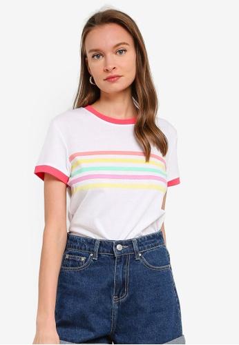 Brave Soul white Rainbow Stripes Ringer T-Shirt 0EDC0AA82F82ADGS_1