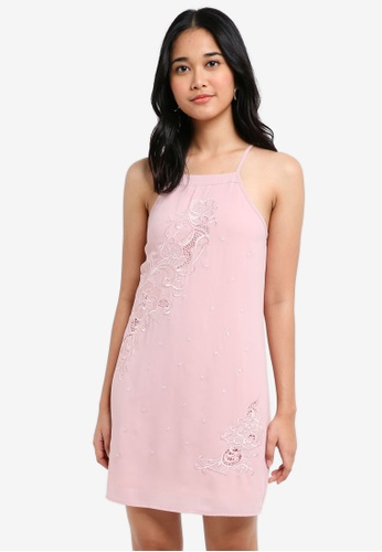 Something Borrowed pink Embroidered Cut-In Cami Dress E6987AA1A6008AGS_1