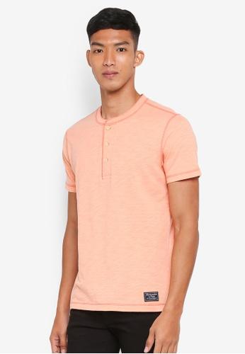 Abercrombie & Fitch orange Sunfade Solid Henley T-Shirt B4024AA42D8125GS_1