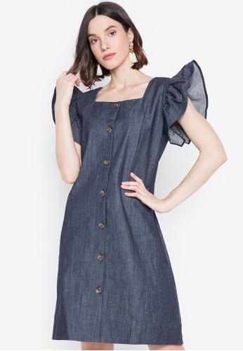 Chictees blue Savanah Ruffle Sleeve Dress C69EAAA317D8D1GS_1
