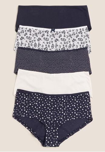 MARKS & SPENCER blue M&S 5pk Cotton Lycra® Shorts 04D90US13B78C9GS_1