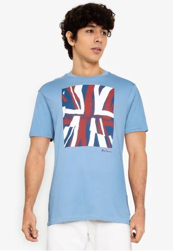 Ben Sherman blue Half Tone Flag Tee 887E1AA9F4E77BGS_1