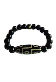 Feng Shui Nine Eye Dzi Onyx with Protection Mantra Bracelet