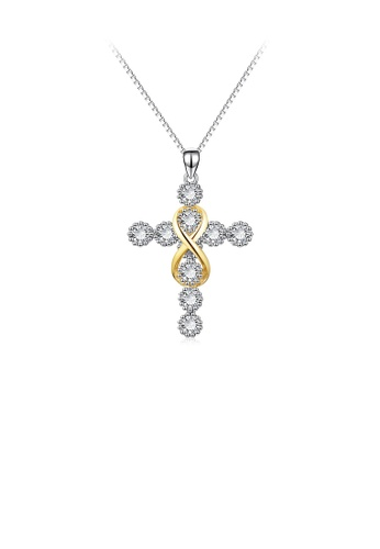 Glamorousky white 925 Sterling Silver Fashion Temperament Golden Figure 8 Cross Pendant with Cubic Zirconia and Necklace DD549AC469876CGS_1
