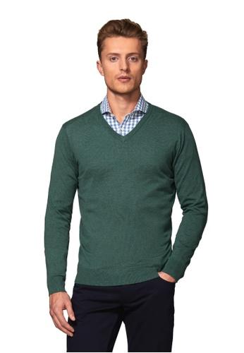T.M. LEWIN green T.M.Lewin Molton Supima Cotton Silk Slim Fit Sea Green V-Neck Jumper 0B2C1AAD1EDABAGS_1