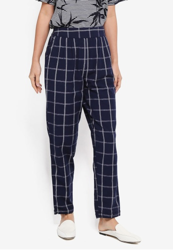 WAREHOUSE navy Linen Check Trousers 70522AA6F6D867GS_1